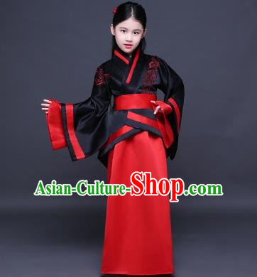 Traditional Ancient Chinese Imperial Princess Fairy Embroidery Costume, Children Elegant Hanfu Clothing Han Dynasty Black Curve Bottom Dress Clothing for Kids