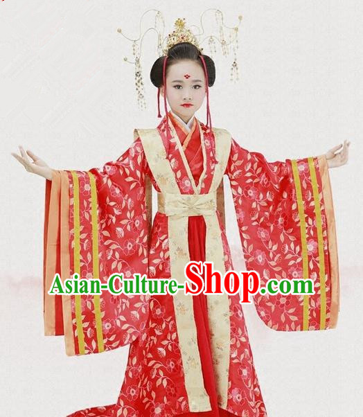 Traditional Ancient Chinese Imperial Consort Fairy Embroidery Wedding Costume, Children Elegant Hanfu Clothing Tang Dynasty Queen Red Dress Clothing for Kids
