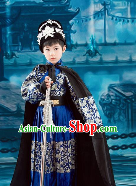 Traditional Ancient Chinese Imperial Bodyguard Embroidery Costume, Children Elegant Hanfu Clothing Ming Dynasty Constable Robes Clothing for Kids