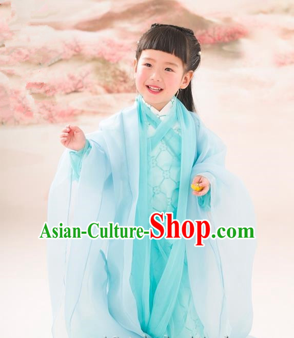 Traditional Ancient Chinese Apsara Girls Embroidery Wedding Costume, Children Elegant Hanfu Clothing Tang Dynasty Princess Fairy Green Dress Clothing for Kids