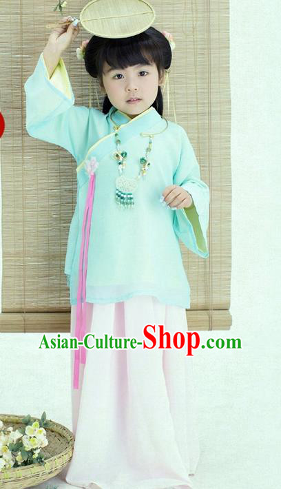 Traditional Ancient Chinese Apsara Girls Costume, Children Elegant Hanfu Clothing Ming Dynasty Princess Fairy Dress Clothing for Kids
