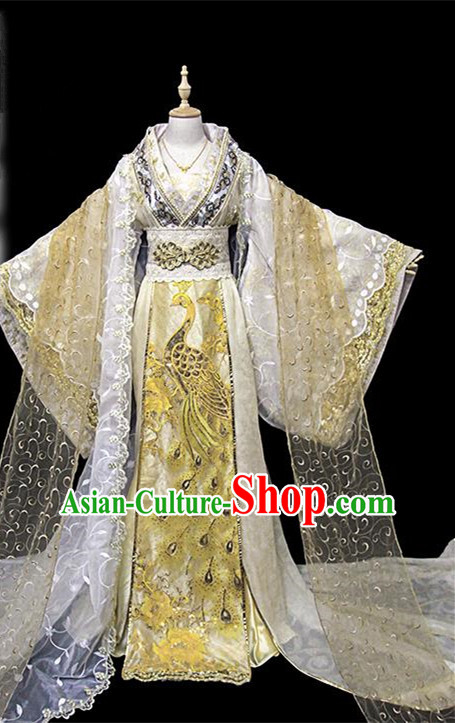 Traditional Ancient Chinese Female Imperial Concubine Embroidered Costume, Chinese Han Dynasty Imperial Fairy Golden Dress Hanfu Clothing for Women