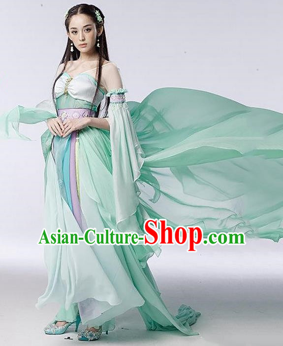 Traditional Asian Chinese Ancient Apsara Peri Costume, China Elegant Hanfu Clothing Tang Dynasty Palace Princess Fairy Green Dance Dress Clothing for Women