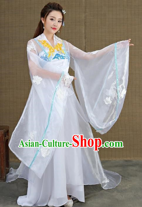 Traditional Asian Chinese Ancient Supernatural Princess Costume, China Elegant Hanfu Clothing Fairy Noble Lady Embroidered Tailing Dress Clothing