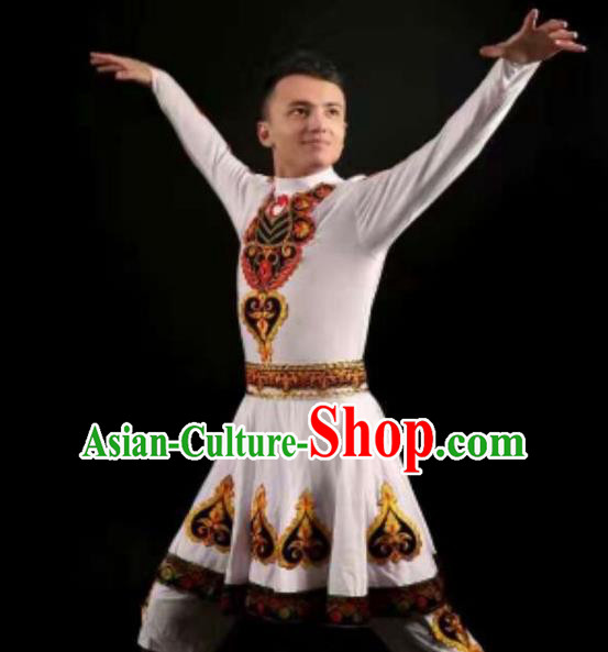 Traditional Chinese Uyghur Nationality Dance Costume, Folk Dance Ethnic Clothing, Chinese Minority Nationality Uigurian Dance Clothing for Men