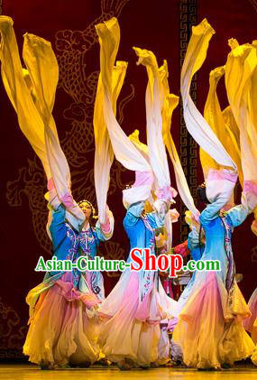Traditional Chinese Ancient Classical Dance Fan Dance Costume, Folk Dance Water Sleeve Dance Dress for Women