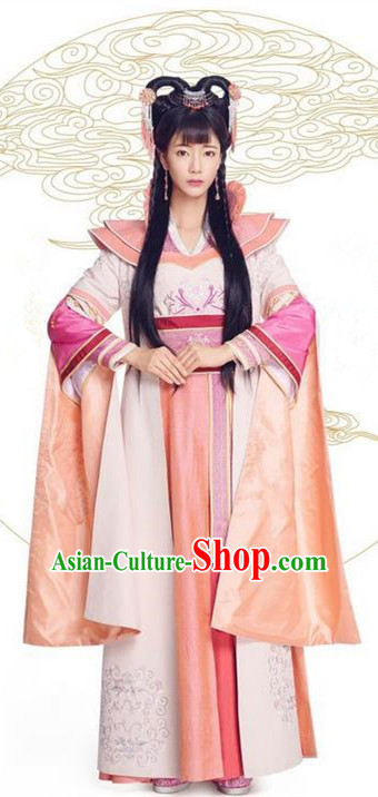 Asian Chinese Northern and Southern Dynasty Palace Lady Costume and Headpiece Complete Set, China Ancient Elegant Hanfu Clothing Princess Embroidered Dress