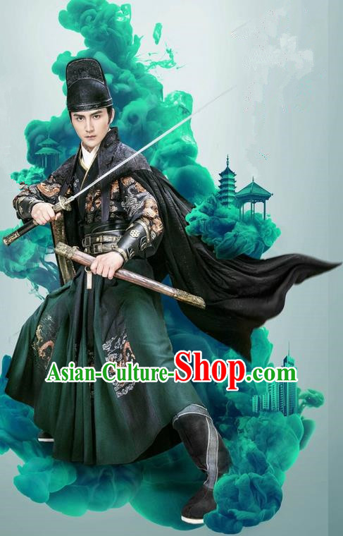 Traditional Ancient Chinese Imperial Bodyguard Blades Costume and Headpiece Complete Set, Chinese Ming Dynasty Imperial Guards Robes Clothing