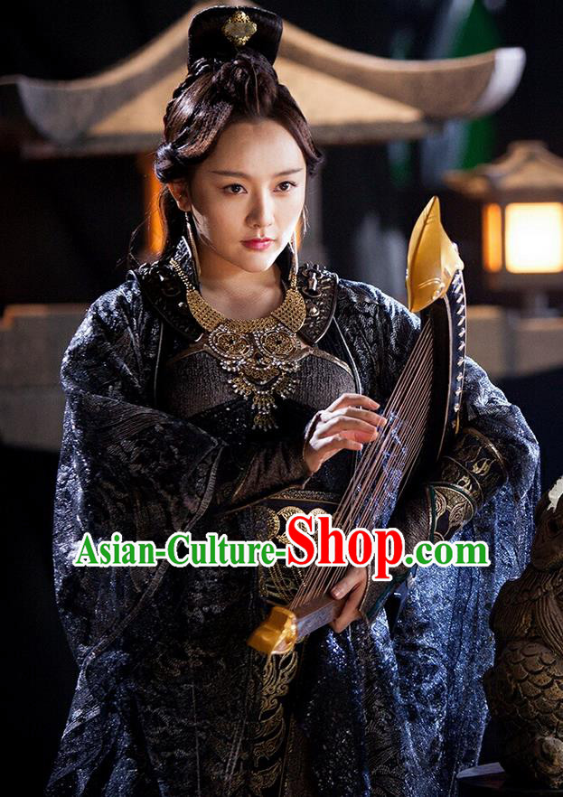 Asian Chinese Traditional Ming Dynasty Imperial Consort Costume and Headpiece Complete Set, China Ancient Elegant Hanfu Clothing Palace Lady Embroidered Dance Dress