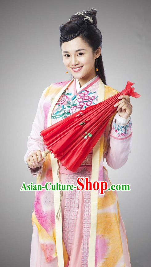 Asian Chinese Traditional Ancient Fairy Young Lady Costume and Headpiece Complete Set, China Ming Dynasty Elegant Hanfu Clothing We Feminist Embroidered Dress for Women