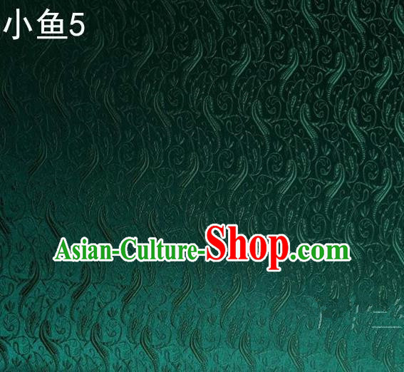 Traditional Asian Chinese Handmade Jacquard Weave Fish Pattern Satin Tang Suit Green Silk Fabric, Top Grade Nanjing Brocade Ancient Costume Hanfu Clothing Fabric Cheongsam Cloth Material