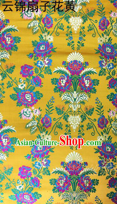Traditional Asian Chinese Handmade Embroidery Flowers Satin Tang Suit Yellow Silk Fabric, Top Grade Nanjing Brocade Ancient Wedding Costume Hanfu Clothing Cheongsam Cloth Material