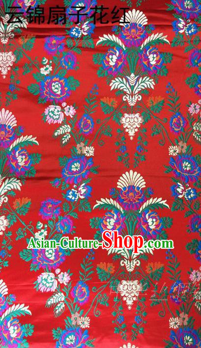Traditional Asian Chinese Handmade Embroidery Flowers Satin Tang Suit Red Silk Fabric, Top Grade Nanjing Brocade Ancient Wedding Costume Hanfu Clothing Cheongsam Cloth Material