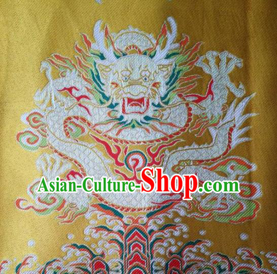 Traditional Asian Chinese Handmade Embroidery Dragons Satin Xiuhe Suit Yellow Silk Fabric, Top Grade Nanjing Brocade Ancient Wedding Costume Hanfu Clothing Cheongsam Cloth Material