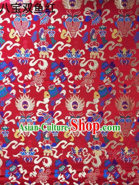 Traditional Asian Chinese Handmade Embroidery Hylotelephium Fishes Satin Xiuhe Suit Red Silk Fabric, Top Grade Nanjing Brocade Ancient Costume Hanfu Clothing Cheongsam Cloth Material