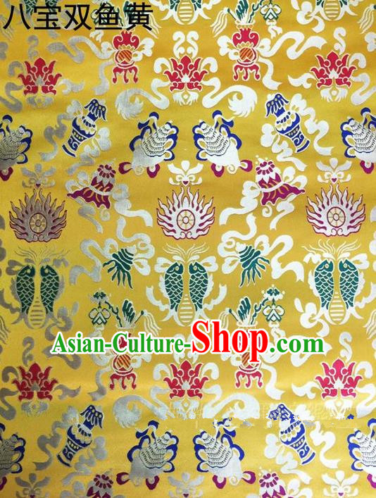 Traditional Asian Chinese Handmade Embroidery Hylotelephium Fishes Satin Xiuhe Suit Yellow Silk Fabric, Top Grade Nanjing Brocade Ancient Costume Hanfu Clothing Cheongsam Cloth Material
