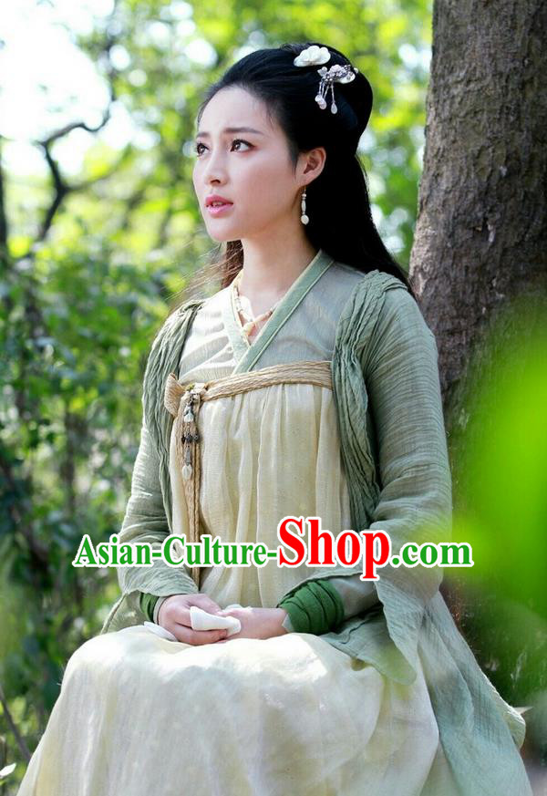 Asian Chinese Traditional Ming Dynasty Female Costume and Headpiece Complete Set, China Elegant Hanfu Young Lady Dress Clothing