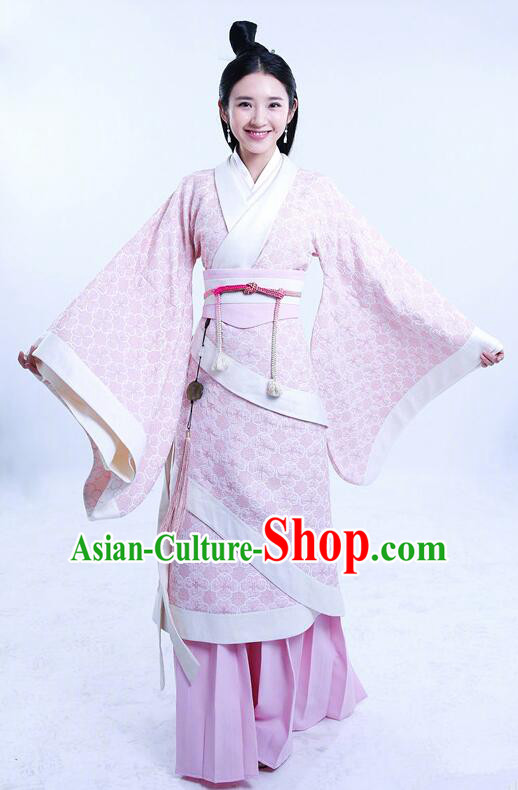 Asian Chinese Traditional Three Kingdoms Female Costume and Headpiece Complete Set, The Advisors Alliance China Elegant Hanfu Imperial Princess Embroidery Dress Clothing