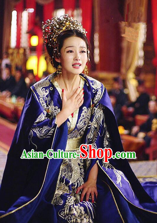 Asian Chinese Traditional Northern and Southern Dynasties Princess Wedding Costume and Headpiece Complete Set, Princess Agents China Elegant Hanfu Bride Embroidery Bottom Drawer Dress