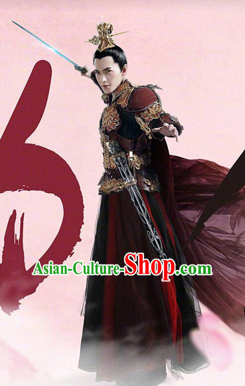 Asian Chinese Traditional Crown General Costume and Headpiece Complete Set, Films Once Upon a Time China Prince Armour Clothing for Men