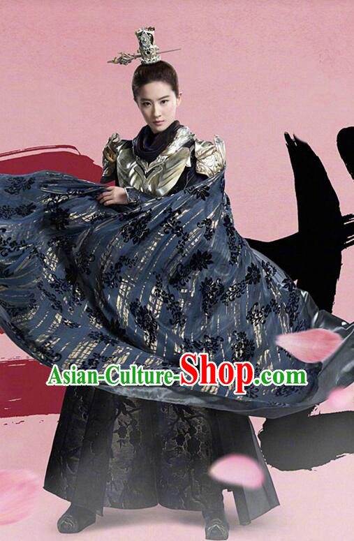 Asian Chinese Traditional Female General Costume and Headpiece Complete Set, Films Once Upon a Time China Warrior Armour Clothing for Women