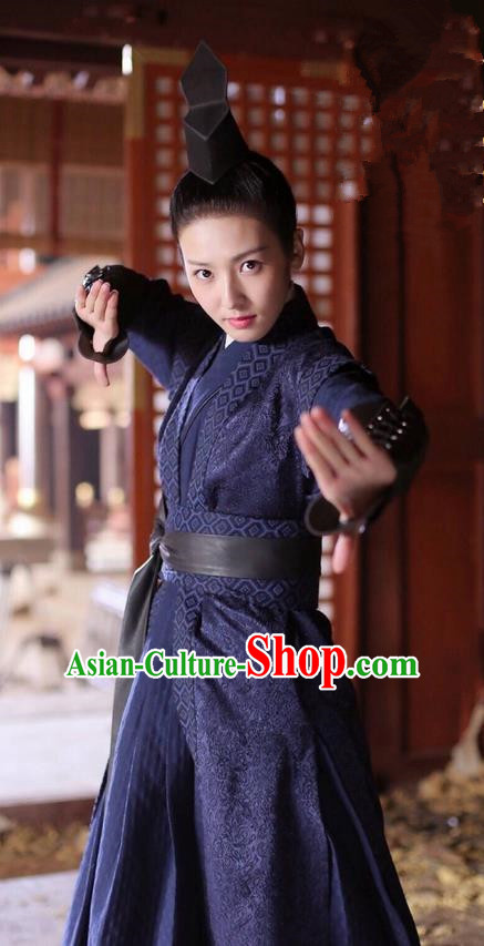 Asian Chinese Traditional Northern and Southern Dynasties Swordswoman Costume and Headpiece Complete Set, Lost Love In Times China Ancient Imperial Bodyguard Clothing for Women