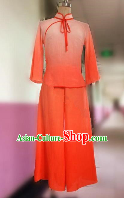 Traditional Ancient Chinese National Folk Yanko Dance Uniform, Elegant Hanfu China Classical Dance Dress Orange Clothing for Women