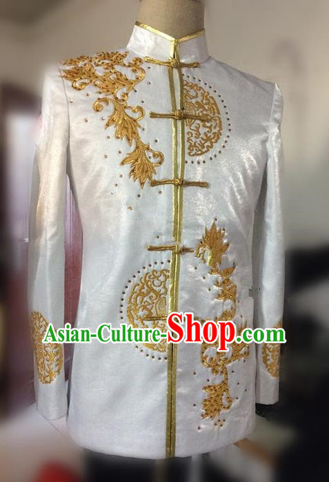 Traditional Ancient Chinese Tang Suit Coat, Elegant Hanfu China Classical Embroidery Blouse for Men