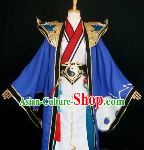 Asian Chinese Traditional Cospaly Han Dynasty Royal Prince Costume, China Elegant Hanfu Nobility Childe Blue Robe Clothing for Men
