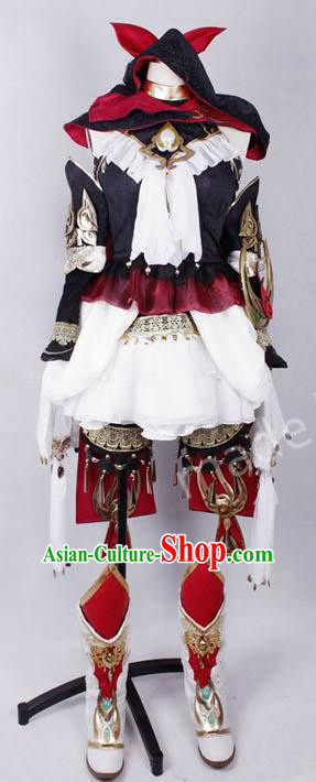 Asian Chinese Traditional Cospaly Little Girl Costume Customization Ming Dynasty Knight Embroidered Costume, China Elegant Hanfu Female General Clothing for Women