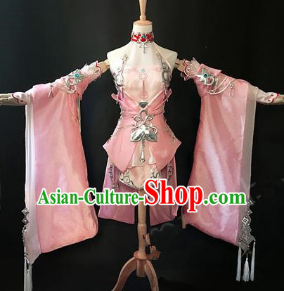 Asian Chinese Traditional Cospaly Costume Customization Swordswoman Dance Costume, China Elegant Hanfu Princess Pink Dress Clothing for Women