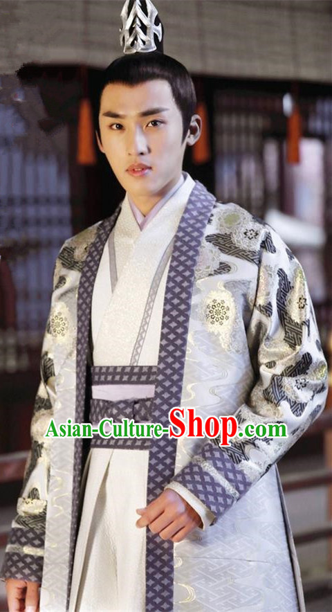 Asian Chinese Traditional Ancient Nobility Childe Costume and Headpiece Complete Set, Lost Love In Times China Northern and Southern Dynasties Prince Clothing