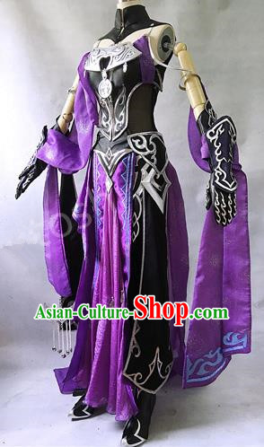Asian Chinese Traditional Cospaly Costume Customization Swordswoman Costume, China Elegant Hanfu Peri Purple Dress Clothing for Women