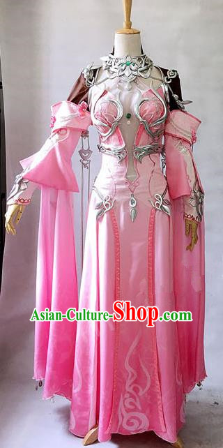 Asian Chinese Traditional Cospaly Costume Customization Dunhuang Flying Apsaras Costume Complete Set, China Elegant Hanfu Peri Pink Dress Clothing for Women