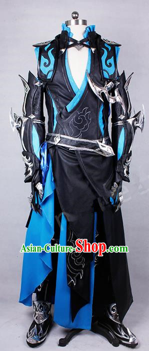 Asian Chinese Traditional Cospaly Costume Customization Ancient Kawaler General Costume Complete Set, China Elegant Hanfu Swordsman Black Clothing for Men