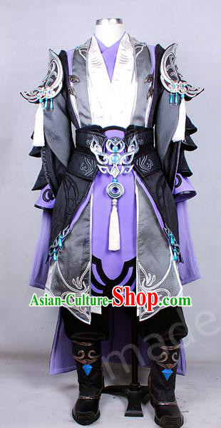 Asian Chinese Traditional Cospaly Costume Customization Ancient Swordsman General Costume Complete Set, China Elegant Hanfu Prince Warrior Clothing for Men