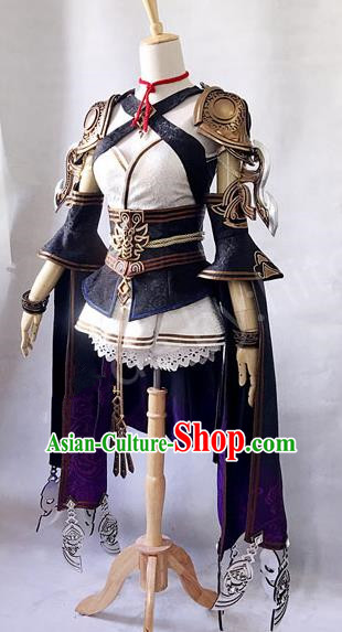 Asian Chinese Traditional Cospaly Costume Customization Ancient Heroine Costume Complete Set, China Elegant Hanfu Peri Warrior Clothing for Women