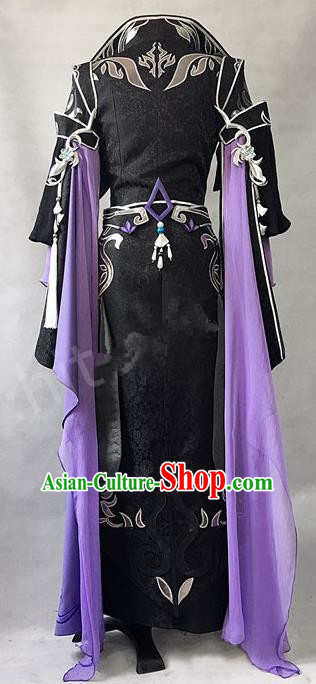 Asian Chinese Traditional Cospaly Costume Customization Ancient Royal Highness Costume Complete Set, China Elegant Hanfu Swordsman Clothing for Men