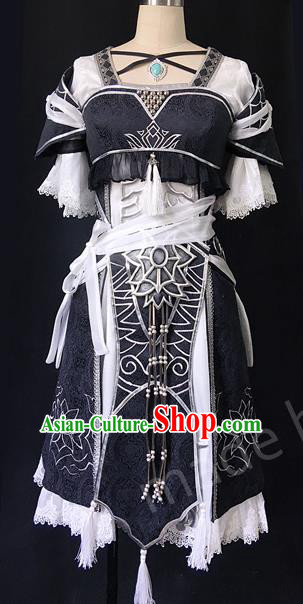 Asian Chinese Traditional Cospaly Costume Customization Ancient Female Swordsman Costume Complete Set, China Elegant Hanfu Saintess Young Lady Clothing for Women