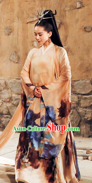 Asian Chinese Traditional Ancient Imperial Consort Costume and Headpiece Complete Set, Lost Love In Times China Northern and Southern Dynasties Fairy Empress Dress Clothing