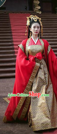 Asian Chinese Traditional Ancient Imperial Empress Wedding Costume and Headpiece Complete Set, Lost Love In Times China Northern and Southern Dynasties Fairy Bride Dress Clothing
