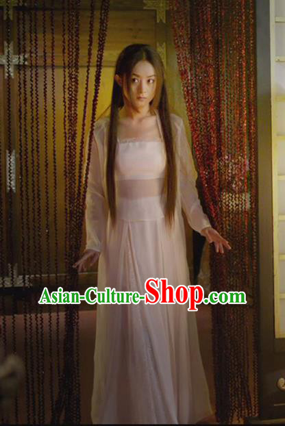 Asian Chinese Traditional Ancient Palace Lady Costume and Headpiece Complete Set, Princess Agents China Northern and Southern Dynasties Royal Maidservant Dress for Women