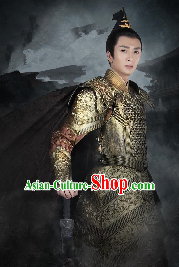 Asian Chinese Traditional Ancient General Warrior Corselet Costume, Lost Love In Times China Northern and Southern Dynasties Soldiers Armour Clothing