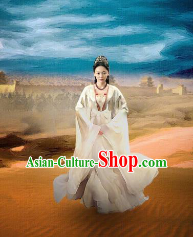 Asian Chinese Traditional Ancient Imperial Princess Costume and Headpiece Complete Set, Lost Love In Times China Northern and Southern Dynasties Young Lady Dress Clothing