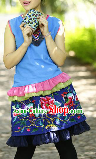 Traditional Chinese National Costume Short Skirt, Elegant Hanfu Tang Suit Embroidered Bust Skirt for Women