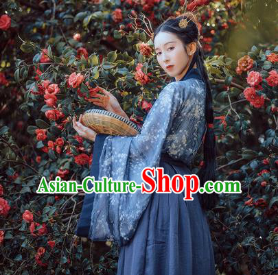 Traditional Ancient Chinese Costume Slant Opening Ru Skirt, Elegant Hanfu Clothing Chinese Jin Dynasty Imperial Princess Wide Sleeve Robe Clothing for Women