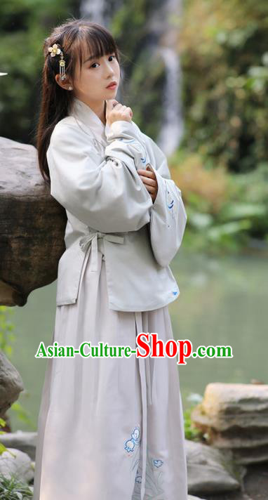 Traditional Ancient Chinese Costume Ming Dynasty Slant Opening Blouse and Skirt, Elegant Hanfu Clothing Chinese Imperial Princess Sleeve Placket Dress Clothing for Women