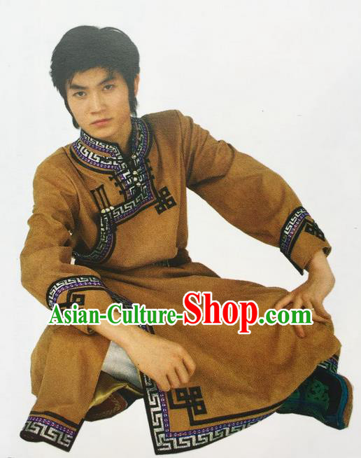 Traditional Chinese Mongol Nationality Dance Costume Deerskin Mongolian Robe, China Mongolian Minority Nationality Clothing for Men