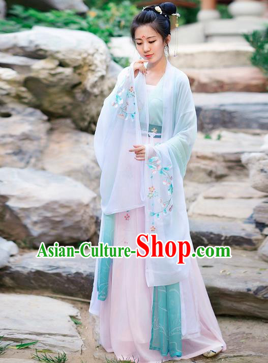 Traditional Ancient Chinese Costume Tang Dynasty Embroidery Wide Sleeve Cardigan, Elegant Hanfu Clothing Chinese Princess Unlined Upper Garment for Women