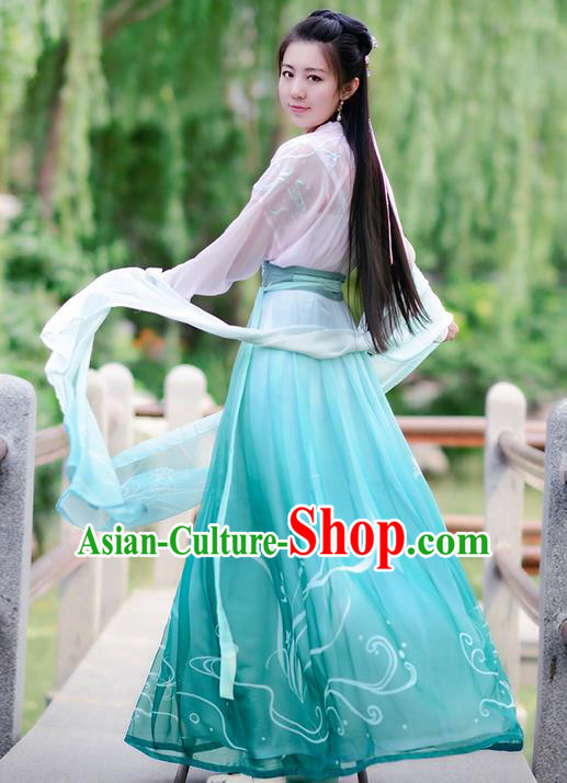 Traditional Ancient Chinese Costume Tang Dynasty Embroidery Daffodil Blouse and Dress, Elegant Hanfu Clothing Chinese Fairy Costume for Women